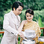 Bride and groom make merit, religious wedding, together at The Sukhothai Bangkok